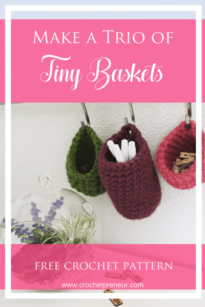 These are perfect for organizing my desk! #minibaskets #crochetpattern #crochetbaskets #organization #smallcrochetbaskets