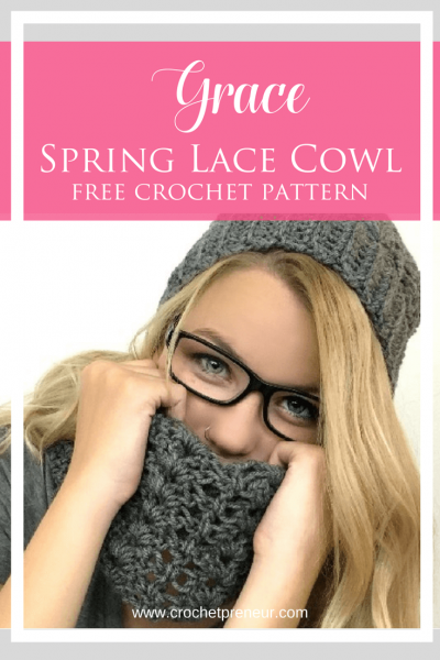 A Free Crochet Pattern for a Spring Lace Cowl #freecrochetpattern #springcrochetpattern #springpattern #springcrochet #lacecowl #crochetpattern #cowlcrochetpattern #springcraftfair