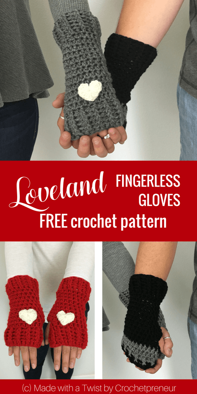 Pinterest graphic of Loveland Fingerless Gloves FREE Crochet Pattern