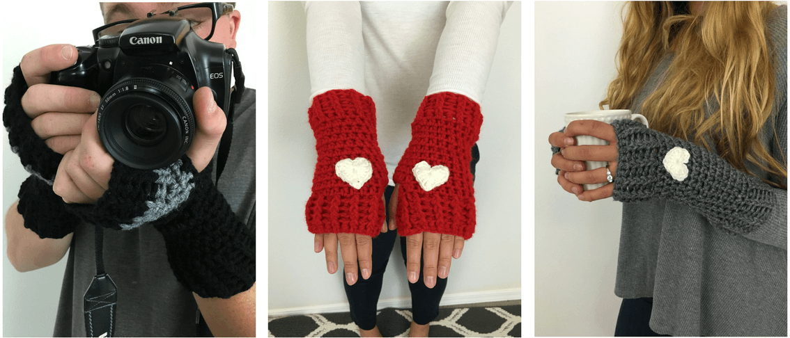 3 photos of men and women wearing the Loveland Fingerless Gloves