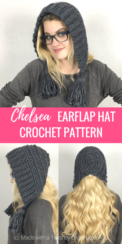 Pinterest graphic for Chelsea Earflap Hat Crochet Pattern