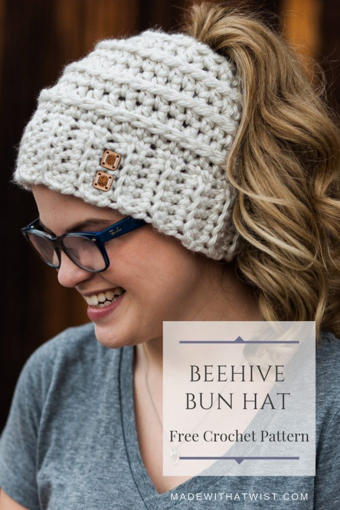 Pinterest image of a blonde girl wearing a beige Beehive Messy Bun Hat from made with a twist