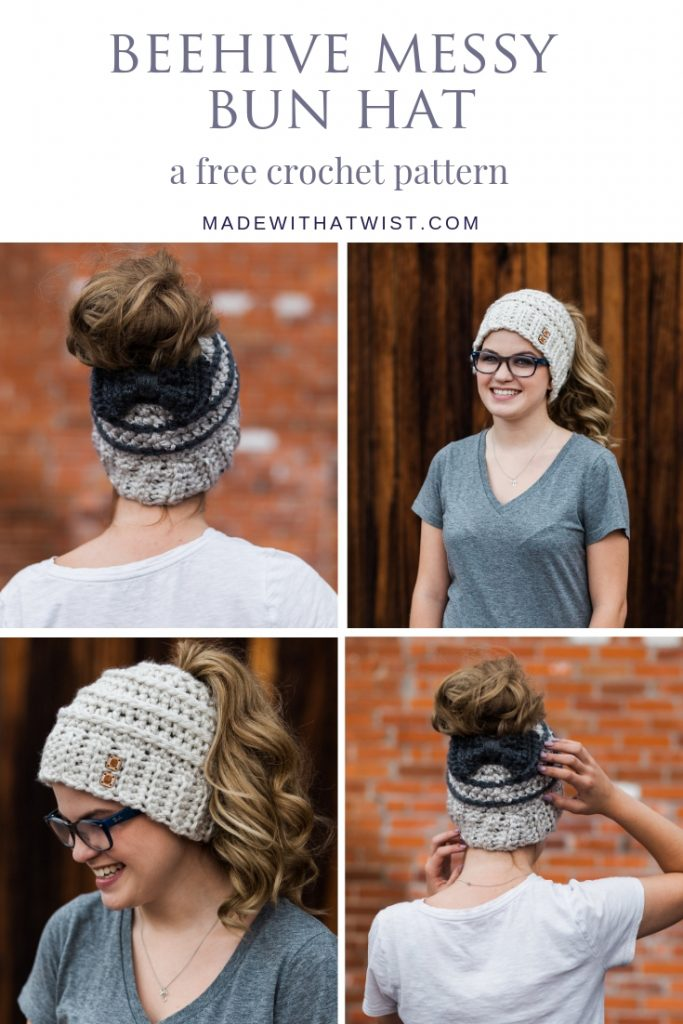 Pinterest image the Beehive Messy Bun Hat FREE Crochet Pattern with 2 different styles