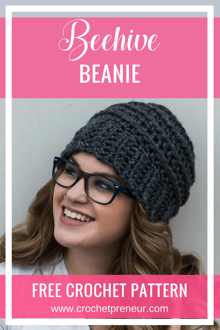 Pinterest graphic of the Beehive Beanie FREE Crochet Pattern