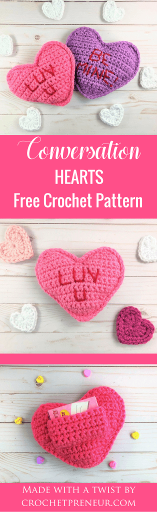 Pinterest graphic of the Conversation Hearts FREE Crochet Pattern