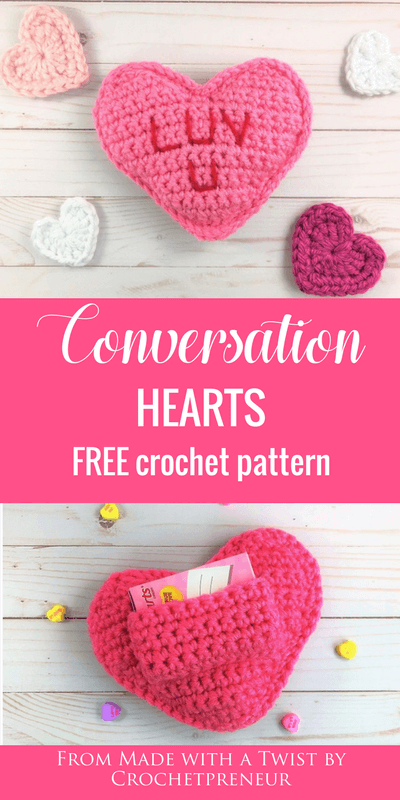 Pinterest graphic for Conversation Hearts FREE Crochet Pattern