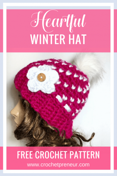 FREE CROCHET PATTERN | Heartful Winter Hat | super bulky yarn makes this so warm and the swirls of hearts make it a sweet hat for all ages! #freecrochetprattern #freepattern #crochetpattern #hearthat #valentinesday #hearthatpattern #valentinesdaycrochetpattern
