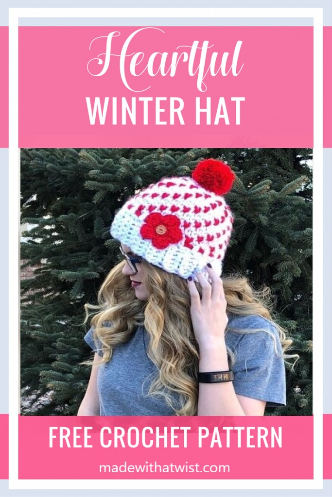 Pinterest graphic for the Heartful Winter Hat FREE Crochet Pattern