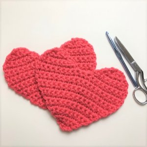 Photo of two crocheted hearts