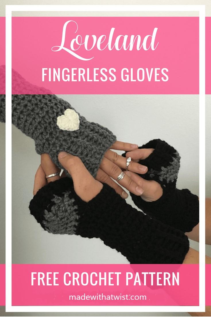 Pinterest graphic of the Loveland Fingerless Gloves FREE Crochet Pattern
