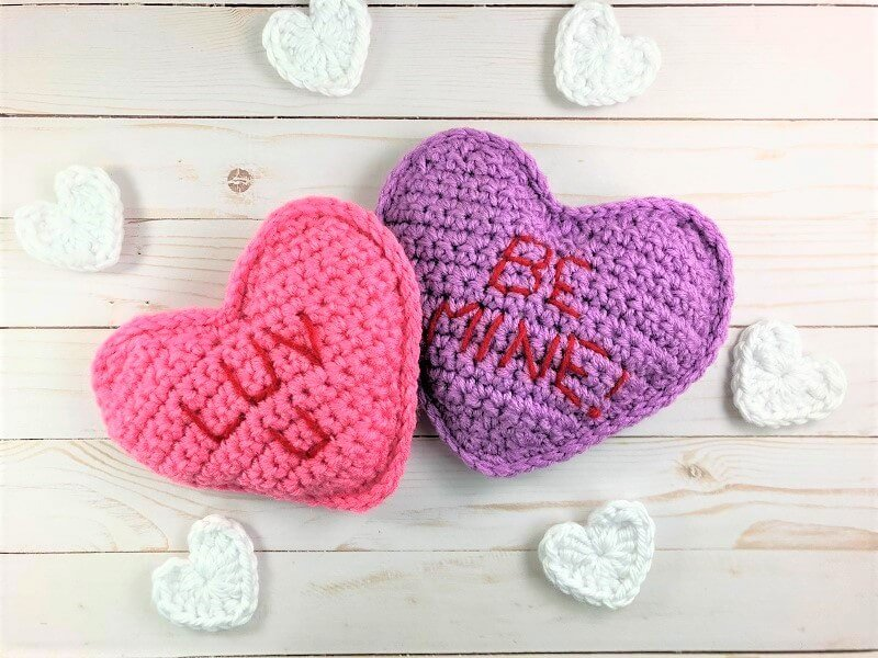 Photo of 2 crocheted Conversation Pillow Hearts