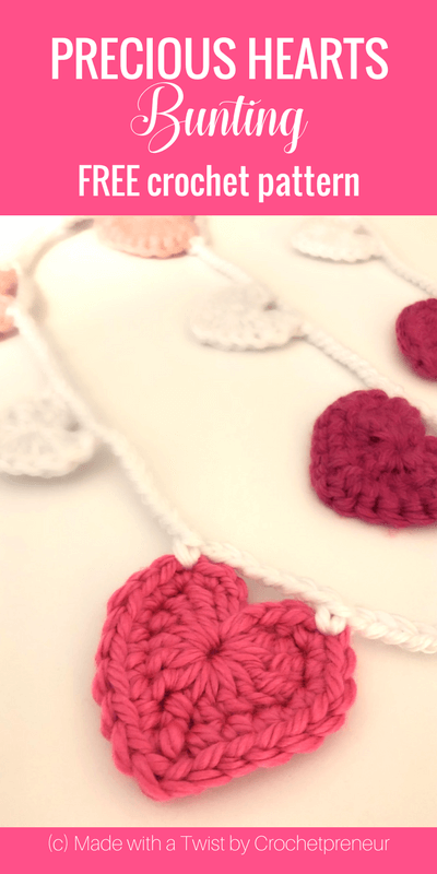 Pinterest graphic for Precious Hearts Bunting FREE Crochet Pattern