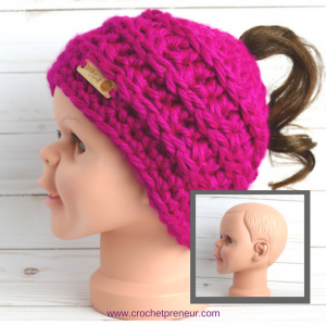 Photo of the finish product of the Phoneytail Hat FREE Crochet Pattern