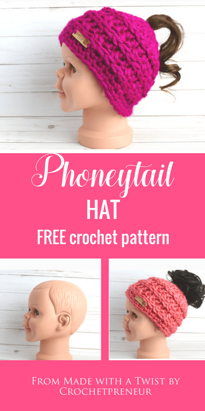 Pinterest graphic of the Phoneytail Hat FREE Crochet Pattern