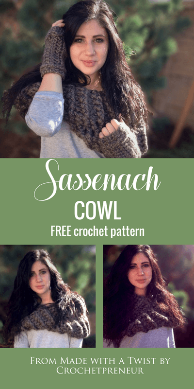 Pinterest graphic of Sassenach Cowl FREE Crochet Pattern
