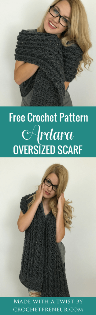 Pinterest graphic of the Ardara Oversized Scarf Free Crochet Pattern