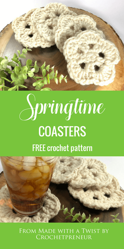 Free Crochet Pattern for Springtime Chunky Coasters | Perfect for Spring and Summer Craft Fairs #crochetcoasters #springcraftfairitems #springcrochet #summercrochet #springtimecrochetpattern #coasters #crochetcoasters