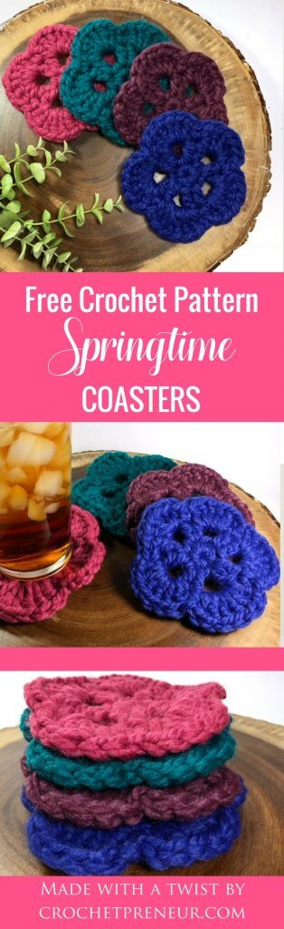 Pinterest graphic of Springtime Coasters FREE Crochet Pattern