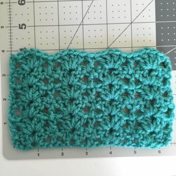 Image sample of the gauge for the crocheted Lily Ponytail Hat