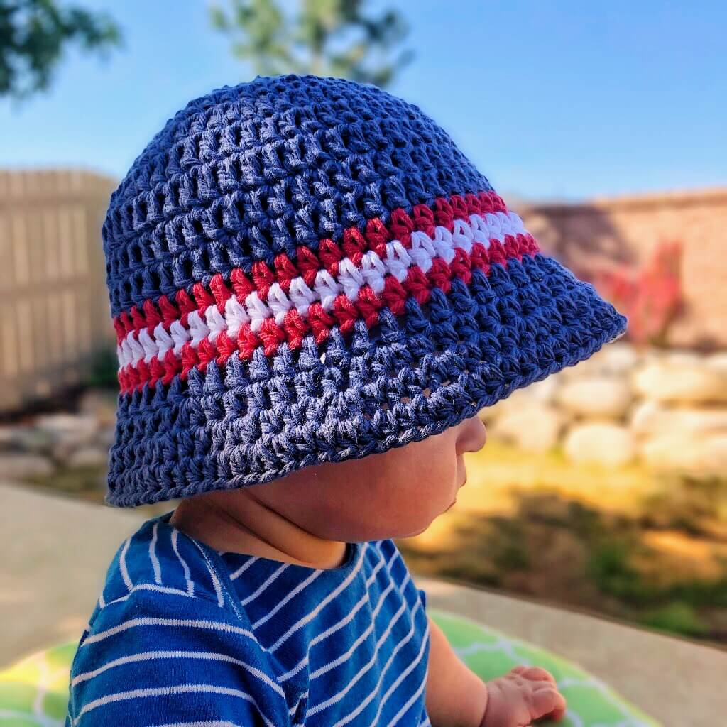Closer look at the crocheted Sun & Sand Bucket Hat for Kids