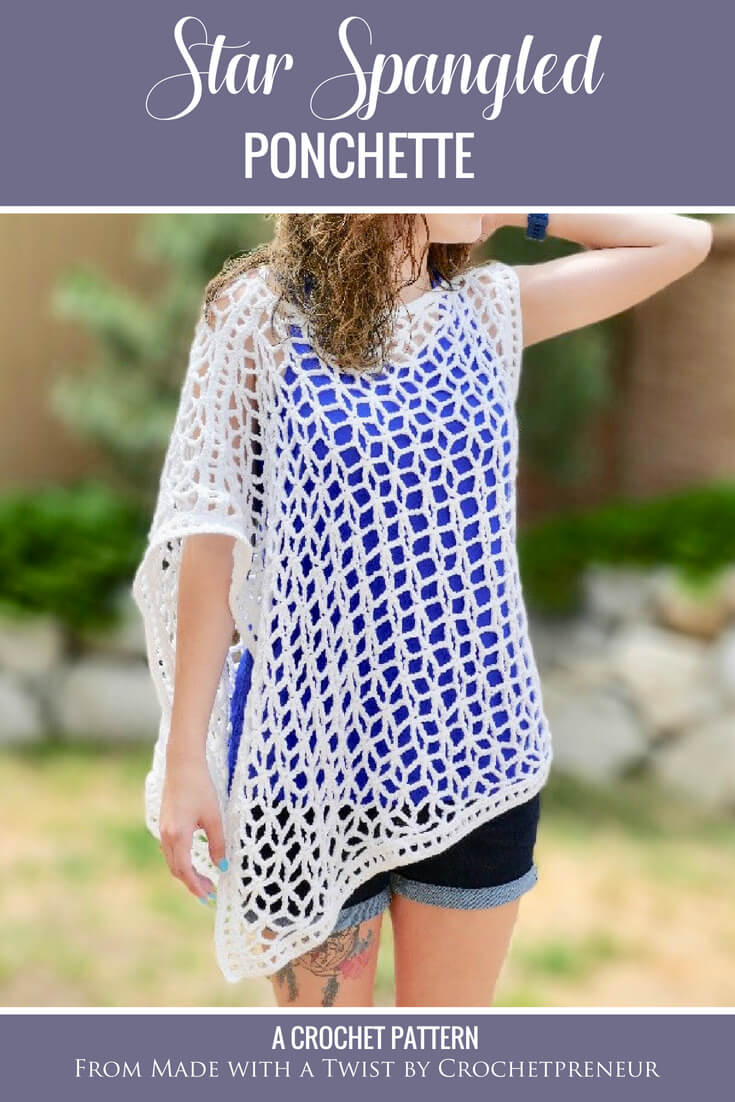 This asymmetrical summer poncho, lovingly titled the Star-Spangled Ponchette, is a lovely pattern that creates a garment with drape and interest. The star shaped mesh that is created by the pattern is perfect for 4th of July or anytime! Whip up this summer crochet pattern and wear your ponchette as a beach coverup or wear it over a camisole for a night out on the town. Causal or classy, this layered summer top is the perfect accessory to crochet for summer. #summerponchocrochetpattern #asymmetricalponcho #asymmetricalponchocrochetpattern #crochetpattern #summercrochetpattern #crochetpatternsforsummer #lightweighttop #fourthofjulycrochetpattern #starlace #starspangled #ponchette #starponcho #lacystarsponcho #crochetsummertop