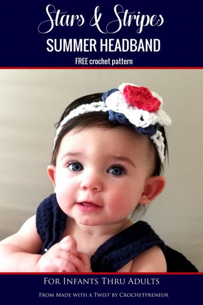 This headband pattern is so quick and easy and perfect for summer! #freecrochetpattern #summerheadband #crochetpattern #fourthofjulycrochet #4thofjulycrochet #starsandstripes #summercrochetpattern #babyheadbandcrochetpattern #babyheadband #headbandcrochetpattern