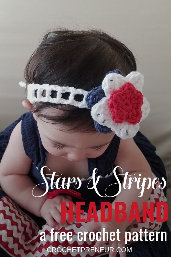 Pinterest graphic of the Stars & Stripes Headband FREE Crochet Pattern