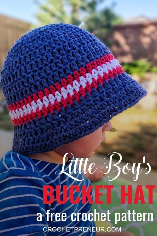 Pinterest graphics of the Little Boy's Bucket Hat FREE Crochet Pattern