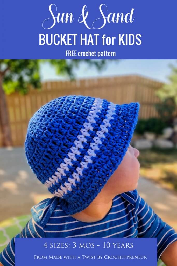 Pinterest graphic of Sun & Sand Bucket Hat for Kids FREE Crochet Pattern