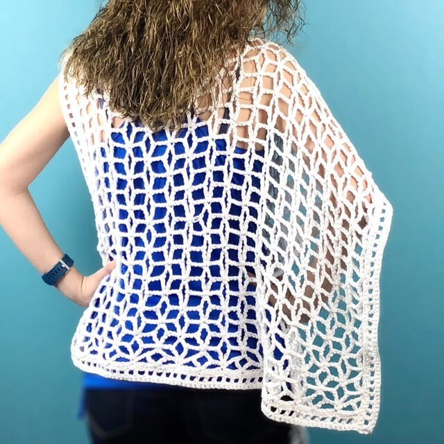 Back view of the asymmetrical Star-Strangled Poncho crochet pattern