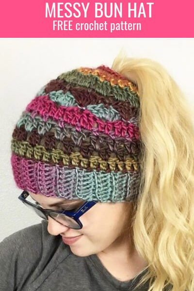 Check out this new messy bun hat crochet pattern! It looks complicated but is so easy to make and the is a free messy bun hat crochet pattern! What could be better than that?! #freecrochetpattern #crochetpatternfree #ponytailhat #messybunhat #bunhatcrochetpattern #ponytailhatcrochetpattern #stripedmessybunhat #patternforcolorfulmessybunhat