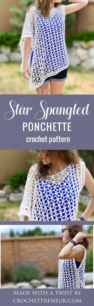 This asymmetrical summer poncho, lovingly titled the Star-Spangled Ponchette, is a lovely pattern that creates a garment with drape and interest. The star shaped mesh that is created by the pattern is perfect for 4th of July or anytime! Whip up this summer crochet pattern and wear your ponchette as a beach coverup or wear it over a camisole for a night out on the town. Causal or classy, this layered summer top is the perfect accessory to crochet for summer. #summerponchocrochetpattern #asymmetricalponcho #asymmetricalponchocrochetpattern #crochetpattern #summercrochetpattern #crochetpatternsforsummer #lightweighttop #fourthofjulycrochetpattern #starlace #starspangled #ponchette #starponcho #lacystarsponcho #crochetsummertop Star-Spangled Summer Poncho Crochet Pattern