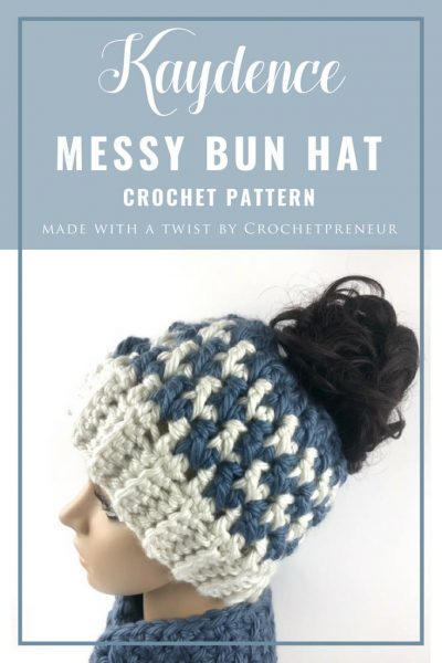Pinterest graphic of Kaydence Ponytail Hat Crochet Pattern