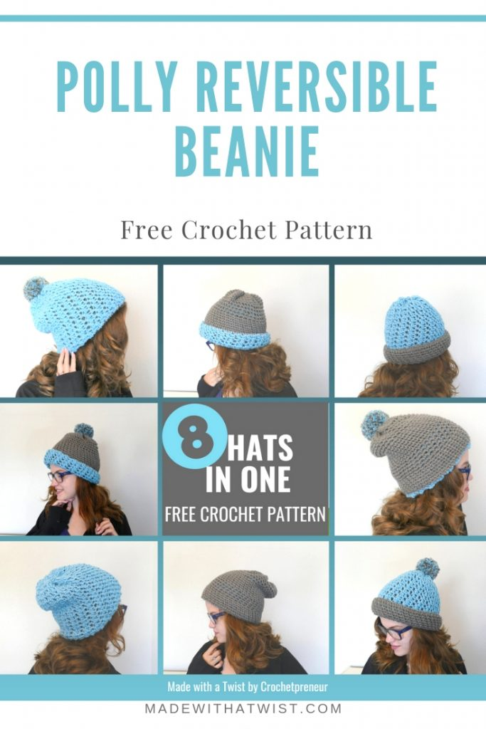 Pinterest sized image of the Polly Reversible Beanie FREE Crochet Pattern