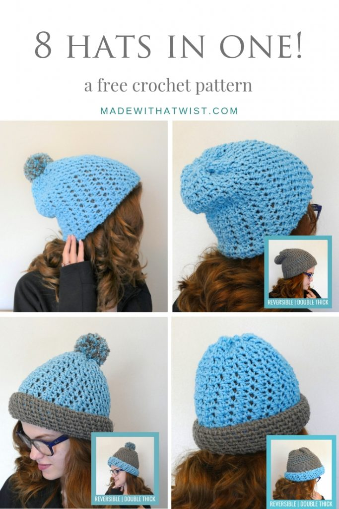 Pinterest sized image of the Crocheted Polly Reversible Beanie