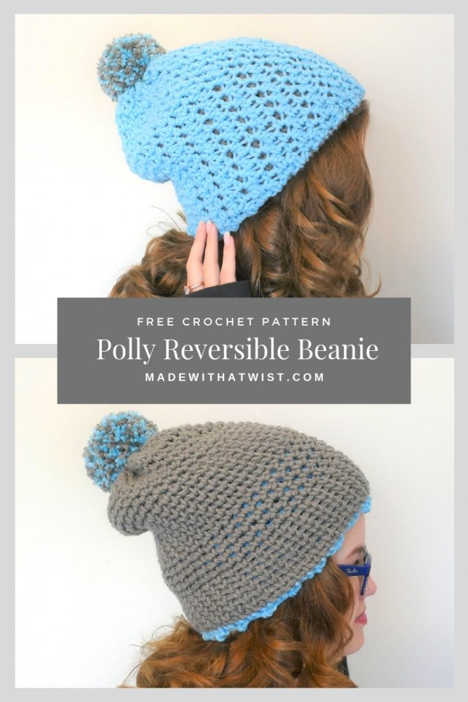 Pinterest image of the Polly Reversible Beanie FREE Crochet Pattern