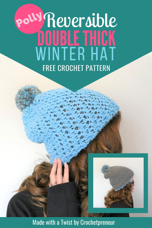 Pinterest image of Polly Reversible Double Think Winter Hat FREE Crochet Pattern