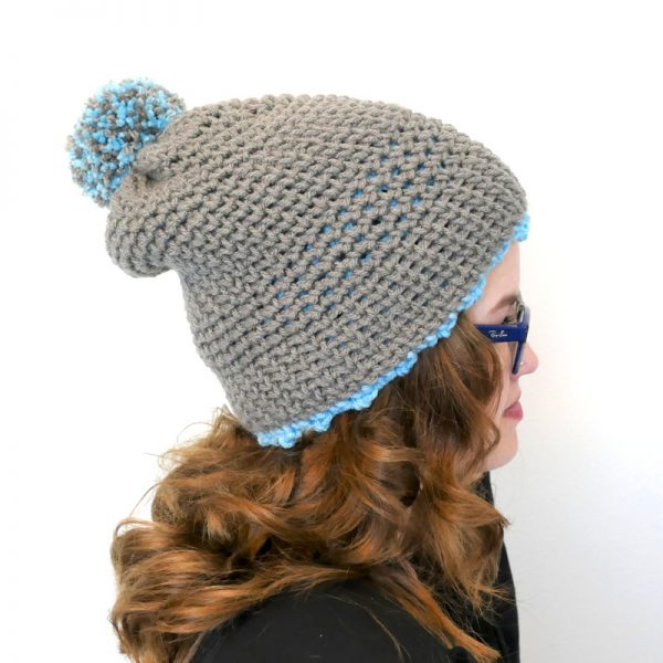 Photo of the other side of crocheted Polly reversible hat