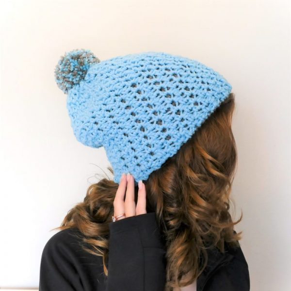 Side view of Polly reversible hat free crochet pattern