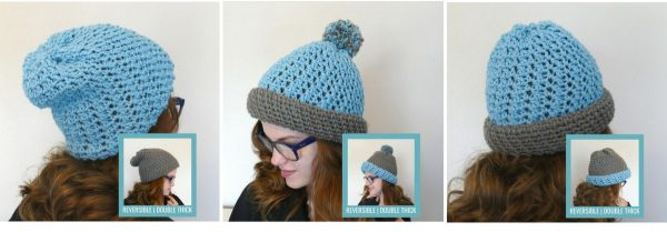 Photo of ways to wear the Polly Reversible Beanie FREE Crochet Pattern