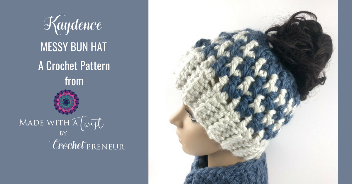 244ded6f43fa6 Kaydence Ponytail Hat Crochet Pattern - Made with a Twist