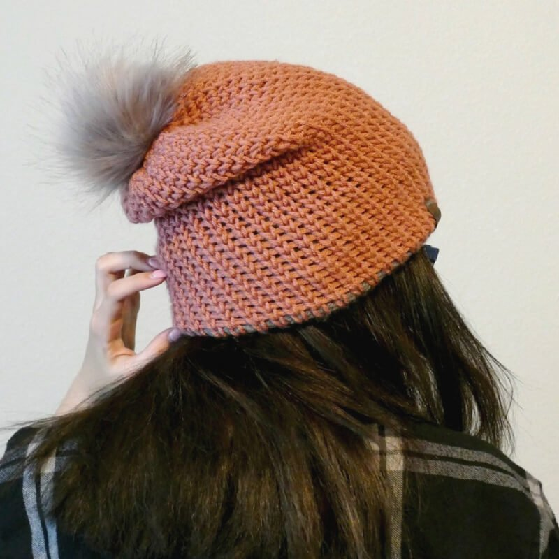 Photo of the back view of double brim knit look beanie free crochet pattern