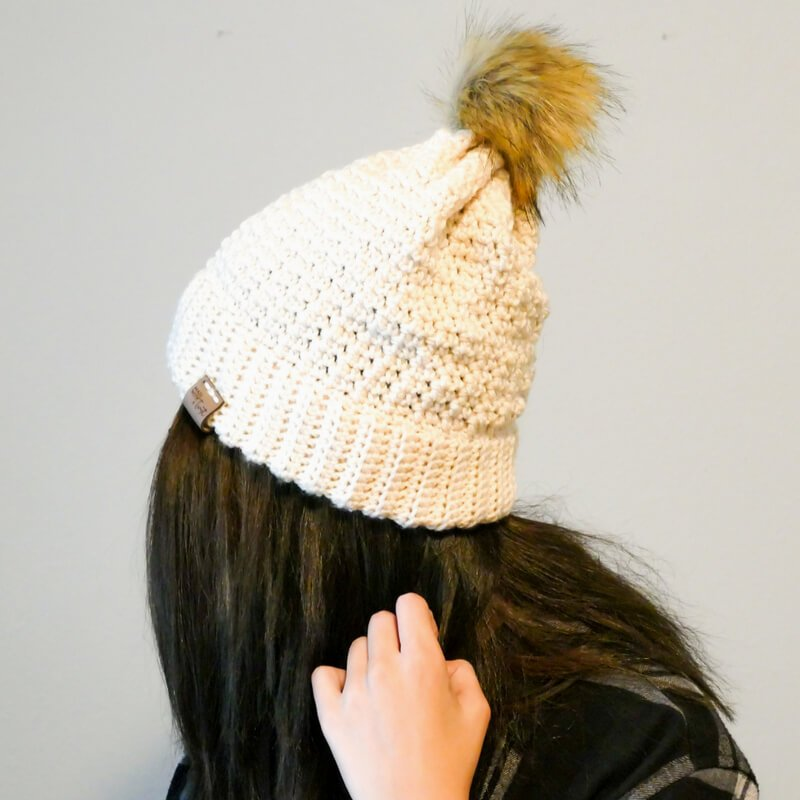 Back view of crochet Breckenridge Double Brim Beanie
