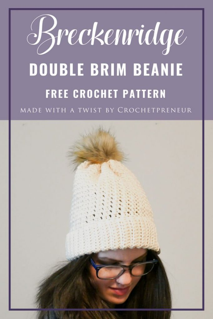 Pinterest graphic of Breckenridge Double Brim Beanie: Free Crochet Pattern
