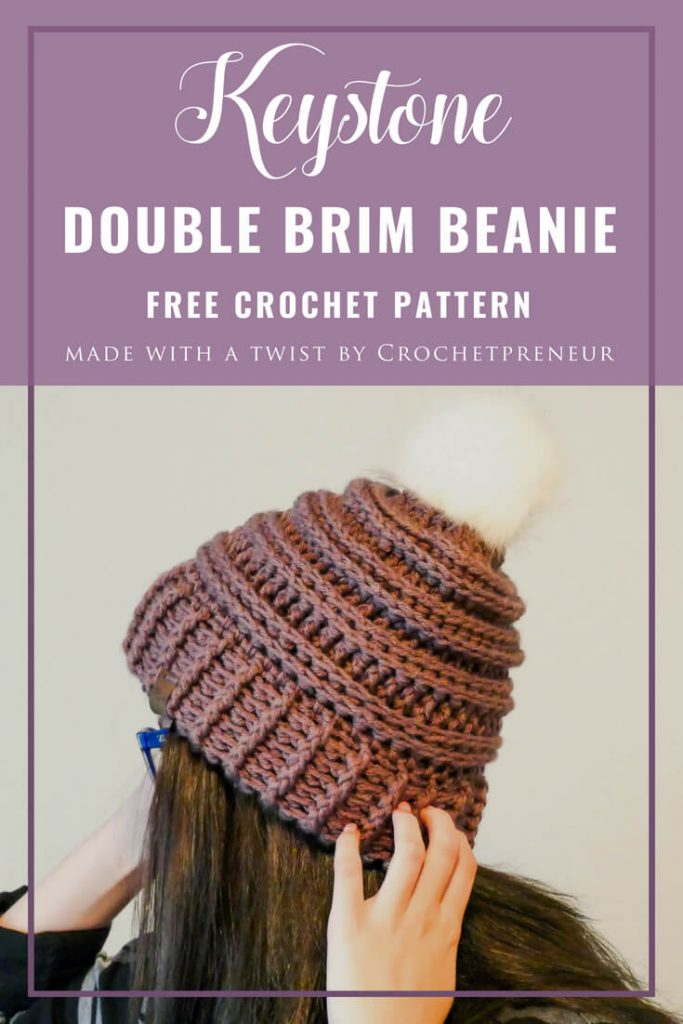 Pinterest graphic of the Keystone Double Brim Beanie Free Crochet Pattern