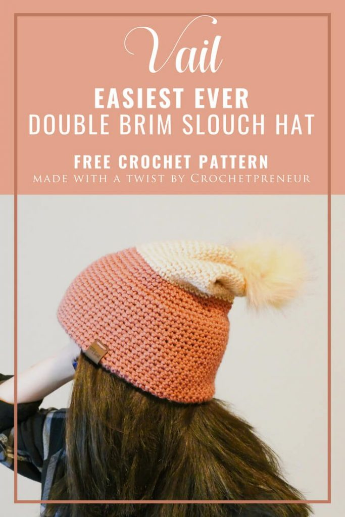 Pinterest graphics of the Vail: a double brim slouch hat. FREE crochet pattern