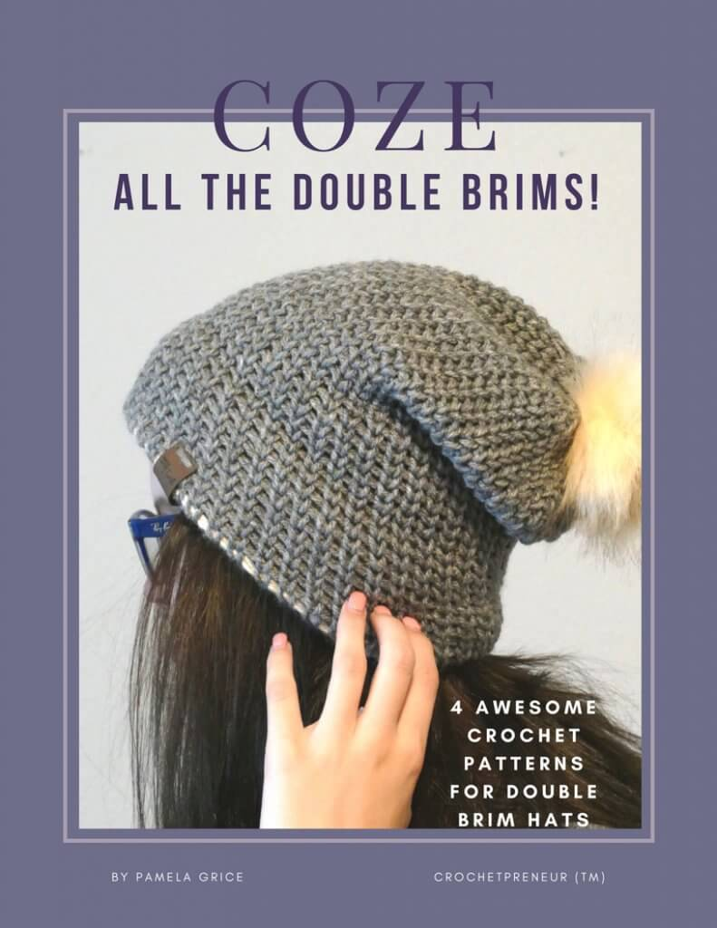 """Cover of the COZE """"All The Double Brims!"""" e-book containing 4 crochet patterns for double brim hats"""