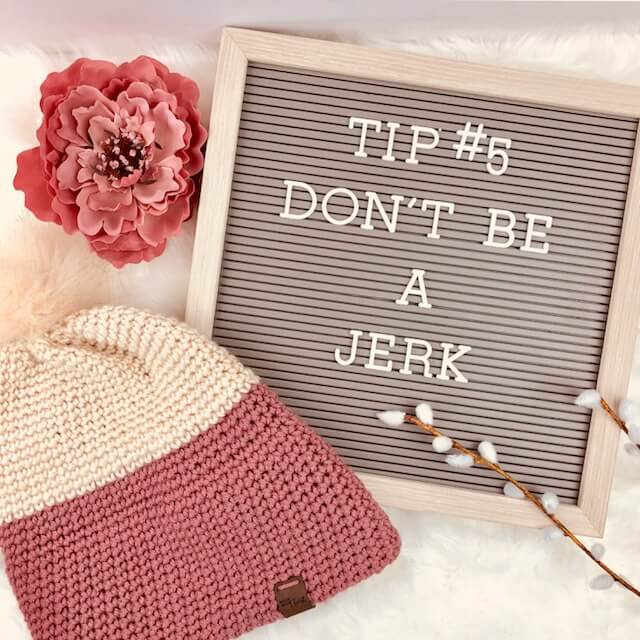 Photo of the crocheted double brim slouch hat with tip#5: don't be a jerk.