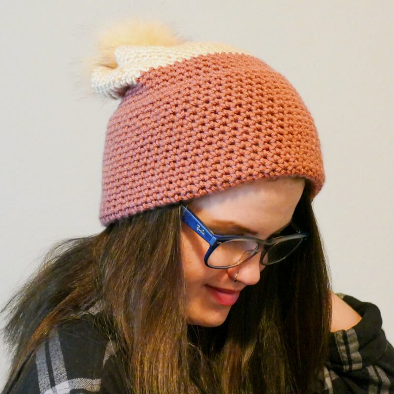 Photo of a woman wearing the easiest ever double brim slouch hat