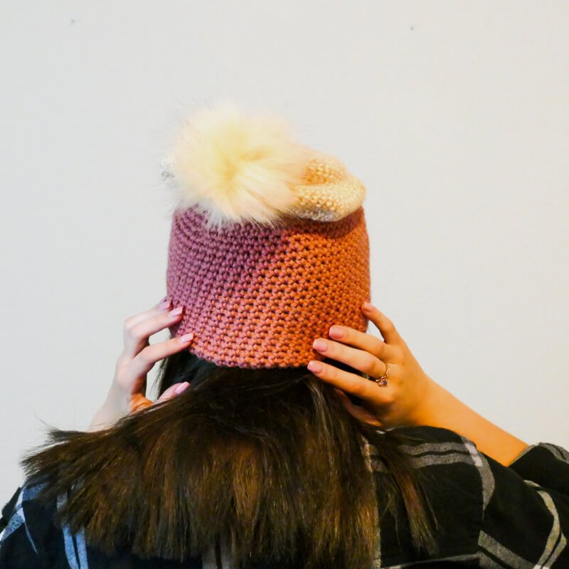Back view of the crochet slouch hat